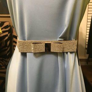 Plus size rhinestone bow stretch belt.